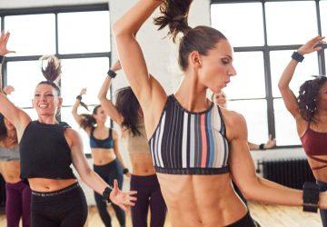women dancing in a fitness studio