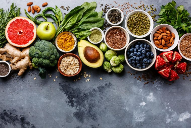 wholesome healthy foods on a table