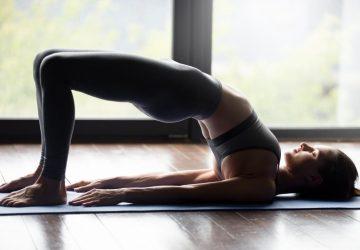woman doing a bridge stretch
