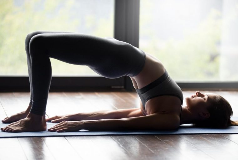 woman doing a bridge stretch