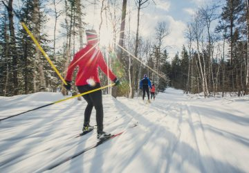 people on a trail cross-country skiing