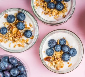 bowls of cereal with blueberries