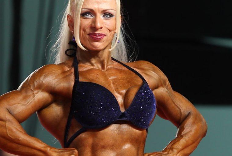 a woman bodybuilder posing