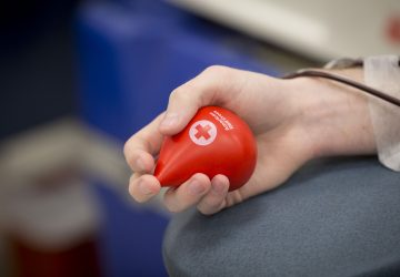 a person donating blood